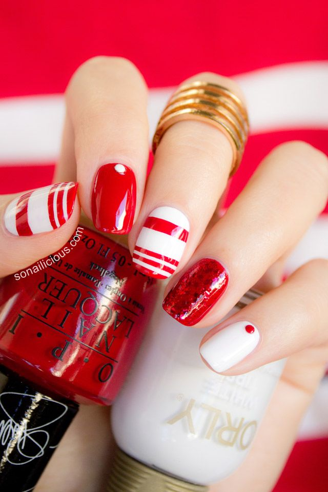 Red and white nail art. Click for how-to. #red #nails