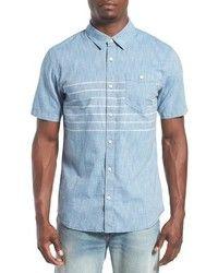 Comprar una camisa de manga corta de cambray celeste: elegir camisas de manga corta de cambray celestes más populares de mejores marcas | Moda para Hombres