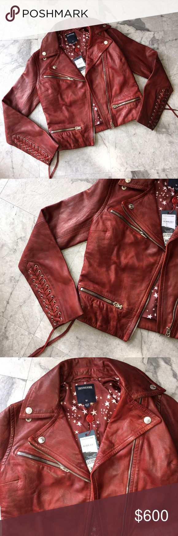 """TRUE RELIGION LACE UP LEATHER MOTO JACKET SIZE XS Super cute and brand new!  Want to save more?  Bundle and save on shipping! Measurements:  Length: 18.75""""  Underarms: 17""""  Shoulder length: 15""""  Waist:  * smoke free home * Reasonable offers only please * All items are recorded in condition listed prior to shipping  * follow me on IG for exclusive sale offers @theposhpassport_ True Religion Jackets & Coats"""