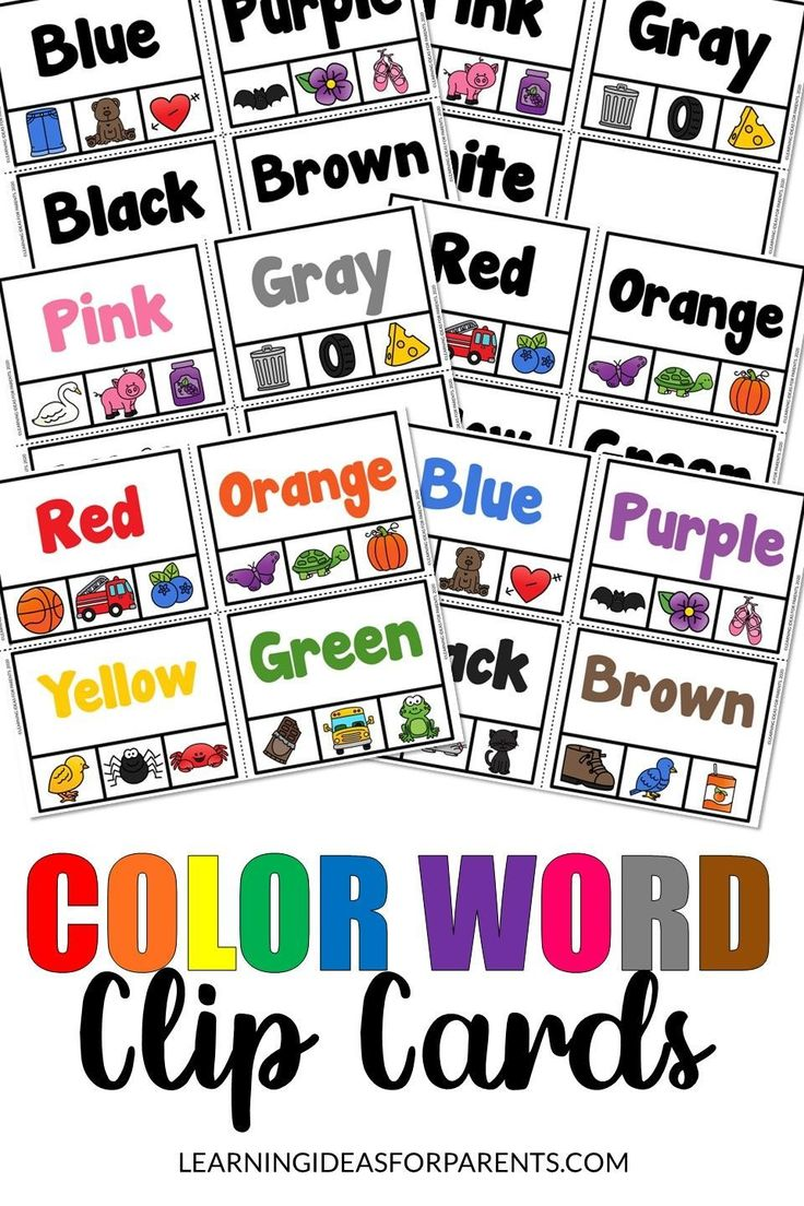 Color Word Clip Cards Free Printable Learning Ideas For Parents Clip Cards Color Words Printable Color Flashcards
