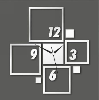 3D diy mirror wall clocks creative squares vintage bedroom wall art decor unique items children's room art clocks 018