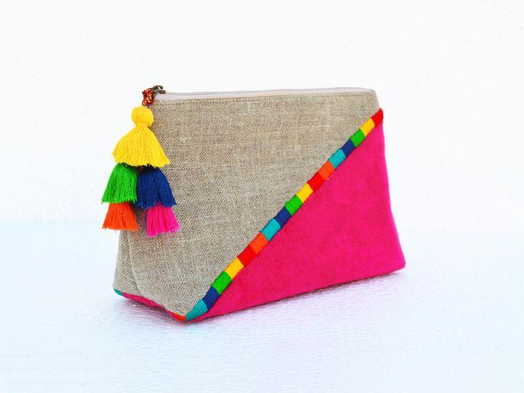 Fuschia Boho pouch colour block linen velvet bag clutch by VLiving