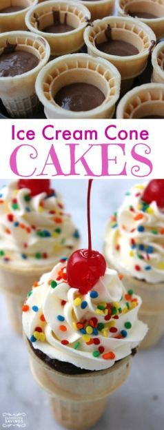 Ice Cream Cone Cakes Recipe! Easy Dessert Recipe for a fun kids treat with frosting and sugar for happy desserts!