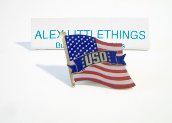 USO American Flag Lapel Pin Patriotic Jewelry Fourth of July