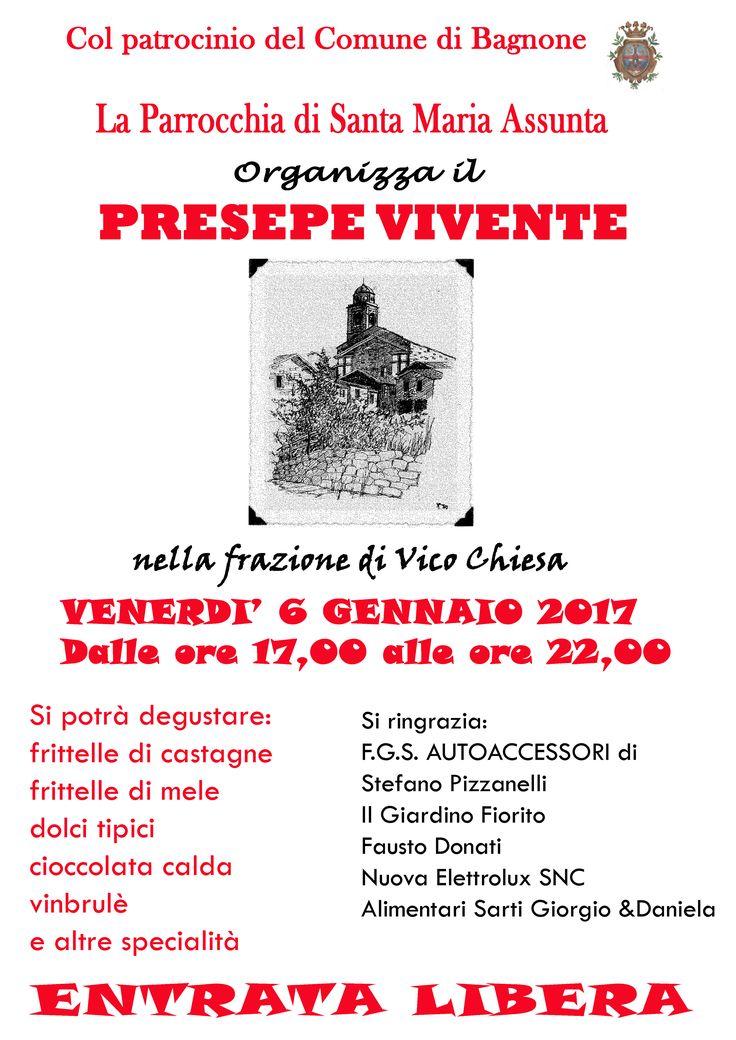 #Venerdì 6 gennaio, #Presepe vivente anche a Vico Chiesa di #Bagnone, dalle 17 alle 22 e in mezzo a tante prelibatezze.