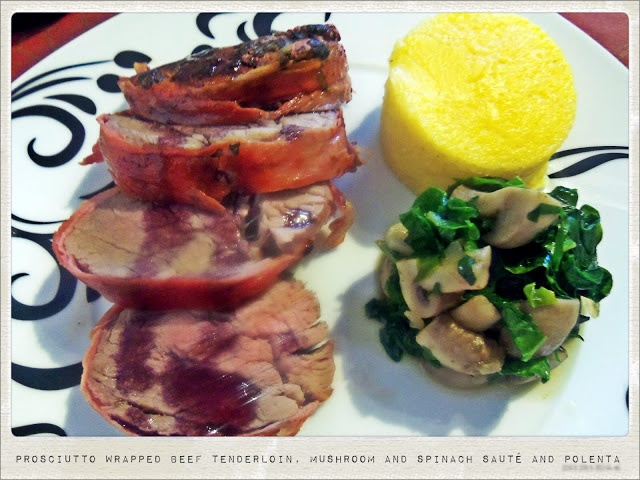 Prosciutto Wrapped Beef Tenderloin, Mushroom and Spinach Sauté and Polenta