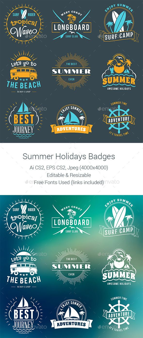 Summer Holiday Badges - Download…