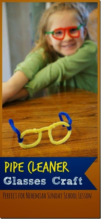 Pipe Cleaner Glasses Craft for Kids! This is such a simple, fun to make craft for kids from Preschool to Kindergarten, 1st grade, and 2nd grade. We used this as a Nehemiah Craft for Kids: