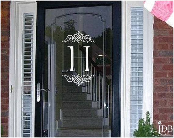 diy frosted front door window ideas | 40 Front Door Initial/Monogram Ideas