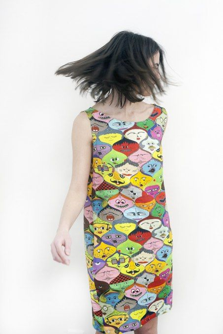 Faces summer dress by Jain&Kriz. Print and pattern. Bold graphic art fashion. Cool and comfortable. 100% linen.