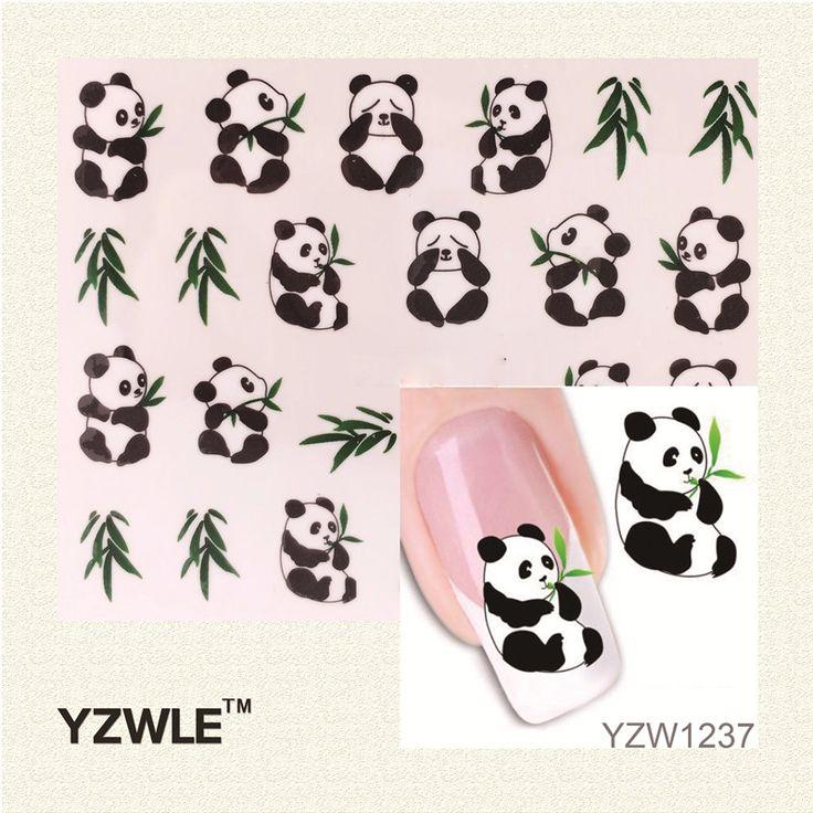 YZWLE 1 Hoja Nuevo Diseño 3D Nail Art Sticker Calcomanías de Transferencia de Agua de Impresión Lindo Panda DIY Decoración de Uñas Herramientas de Peinado