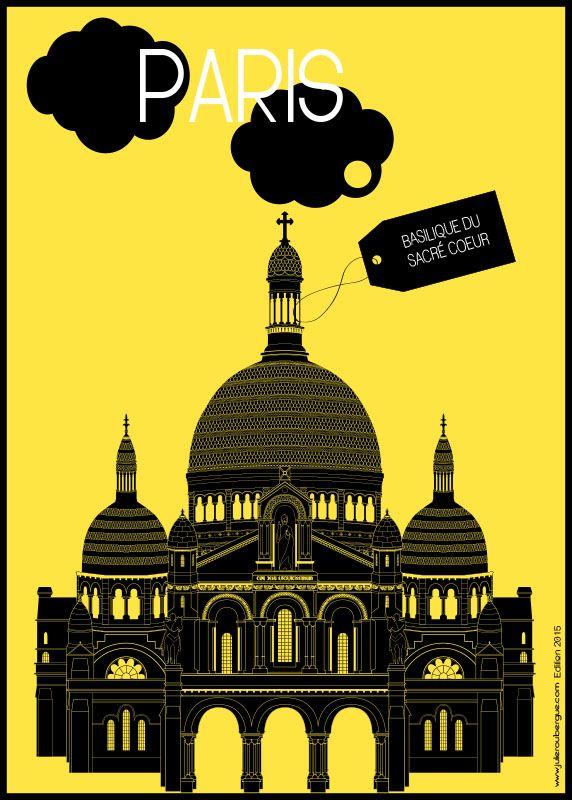 Basilique du Sacré Coeur Yellow - Poster 50x70cm or 30x40cm