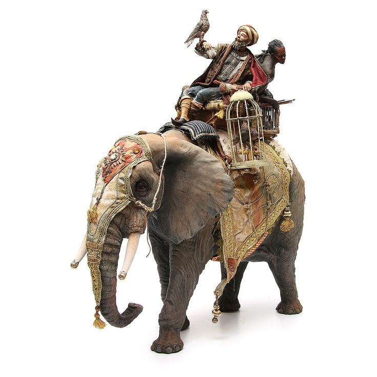 Elefant mit heiligen König und Diener 30cm Angela Tripi | Online Verfauf auf…