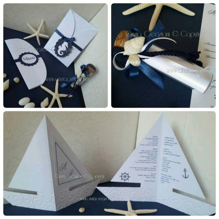 Coordinato Matrimonio Mare Partecipazione Menu Partecipazione Menu Stella Marina