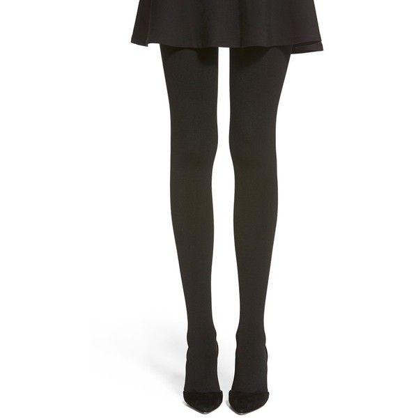 Hue Brushed Sweater Tights ($20) ❤ liked on Polyvore featuring intimates, hosiery, tights, black, black opaque tights, black tights, hue pantyhose, opaque stockings and hue tights