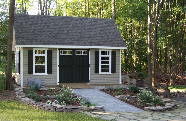 See How This Customer Landscaped Around Their 12 X 20 Vinyl Elite Cape Notice The Detail Of The Transoms Above Shed Landscaping Outdoor Sheds Shed Makeover