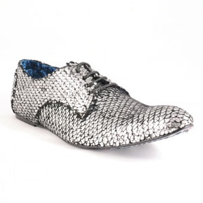 Silver shoes - crocodile skin gents shoes - rock and roll groom - men's party wear