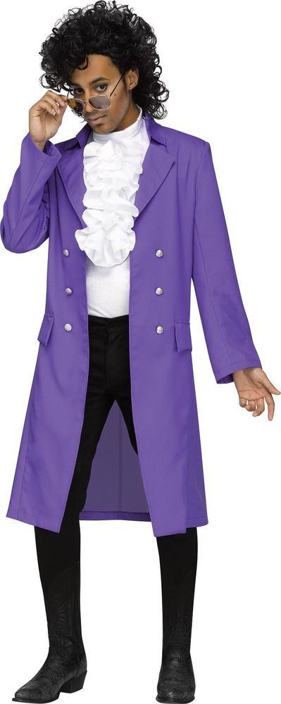 PURPLE RAIN POP SINGER PRINCE LONG COAT & RUFFLE SHIRT FRONT COSTUME…