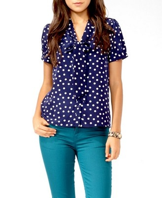 Polka Dot Tie Collar Button Up | FOREVER 21 - 2017307532