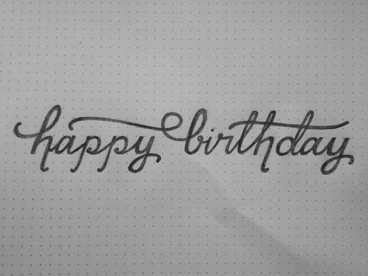 Happy birthday pencil sketch signage