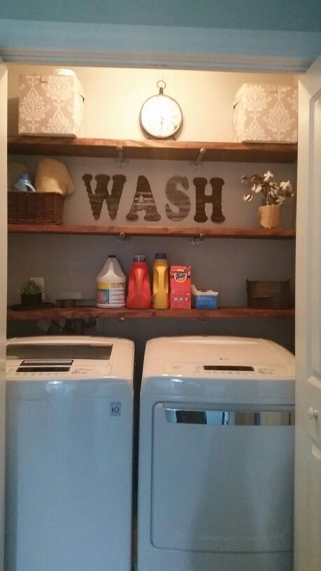 Laundry room before and aftet.  Pipe shelves, destressed wood. Small. Closet. Gray