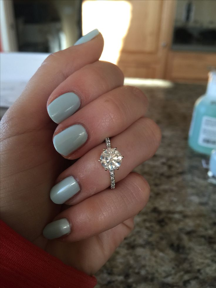 14K White Gold Modified French Cut Six Prong Engagement