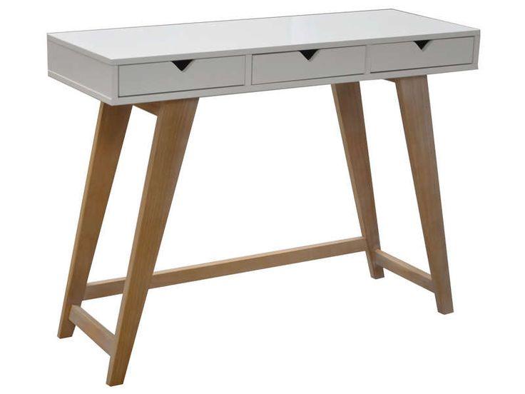 Console 3 tiroirs GAUDI coloris blanc/chêne - pas cher ? C'est sur Conforama.fr - large choix, prix discount et des offres exclusives Console sur Conforama.fr