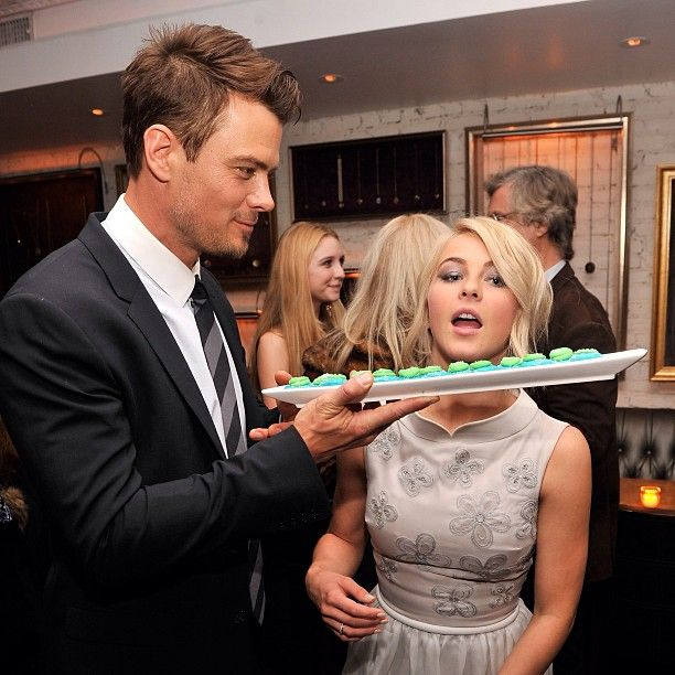 "Josh Duhamel and Jullianne Hough getting cute with ""Safe Haven"" cupcakes at the #SafeHaven after party in NYC!"