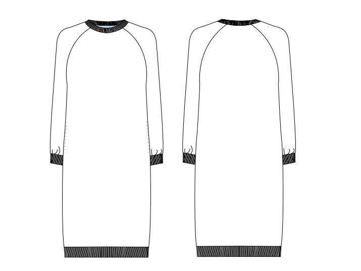 Jersey-Kleid gratis Schnittmuster Schnittansicht vorne und hinten