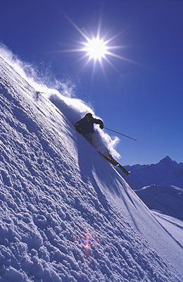 Snow Skiing in the Swiss Alps.
