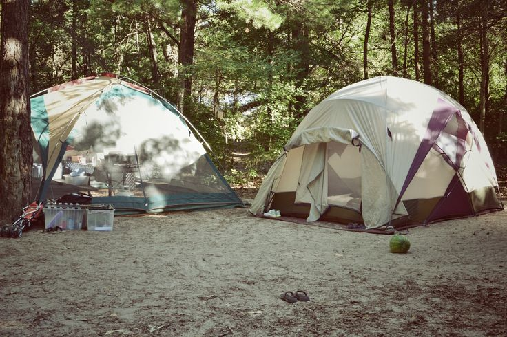 camping at Pinery Provincial Park in Ontario, Canada Tent, trailer, rain, shine :)