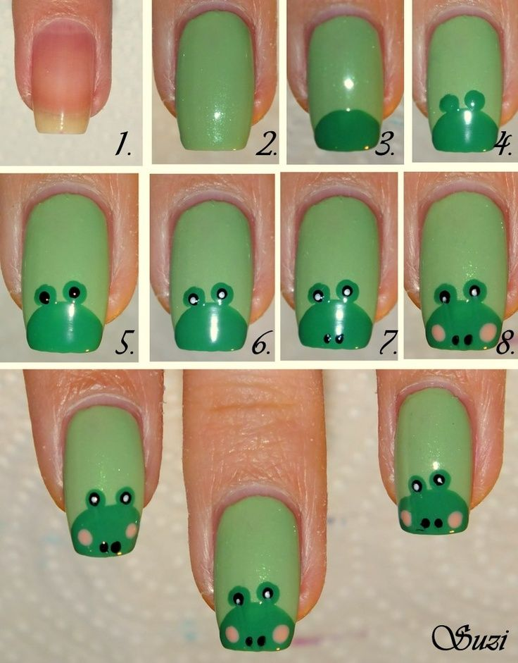 100 best nail art tutorials images on pinterest enamels frog nail design photo tutorial looks like an angry birds pig prinsesfo Choice Image