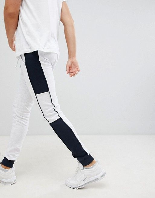 fa271e0831e29 DESIGN super skinny sweatpants with side stripe