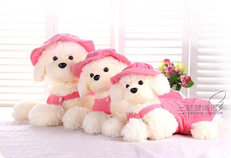 Плюшевые игрушки собаки пудель плюшевые игрушки розовый шляпа и юбка собака куклы подарок на день рождения о 40 см