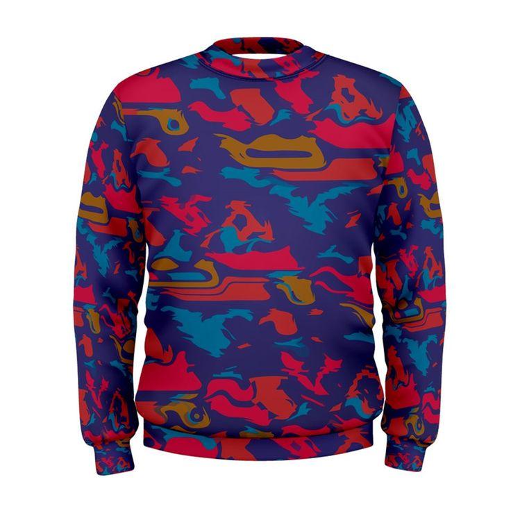 Chaos+in+retro+colors++Men's+Sweatshirt