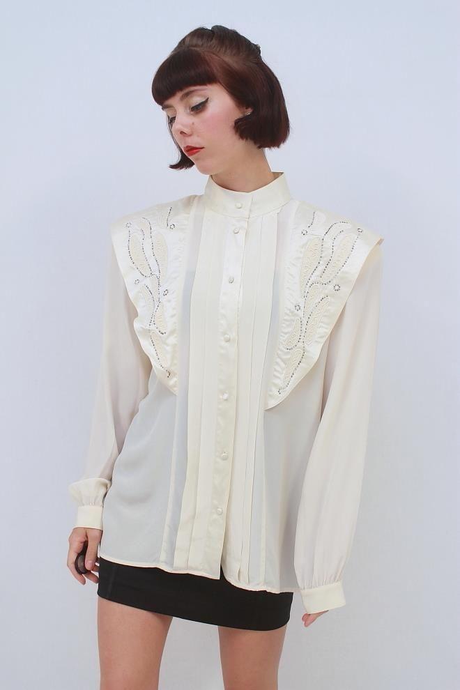 VINTAGE 80's Retro STEAMPUNK Cream SILK BEADED Long Sleeve Blouse Top AUS 10 S
