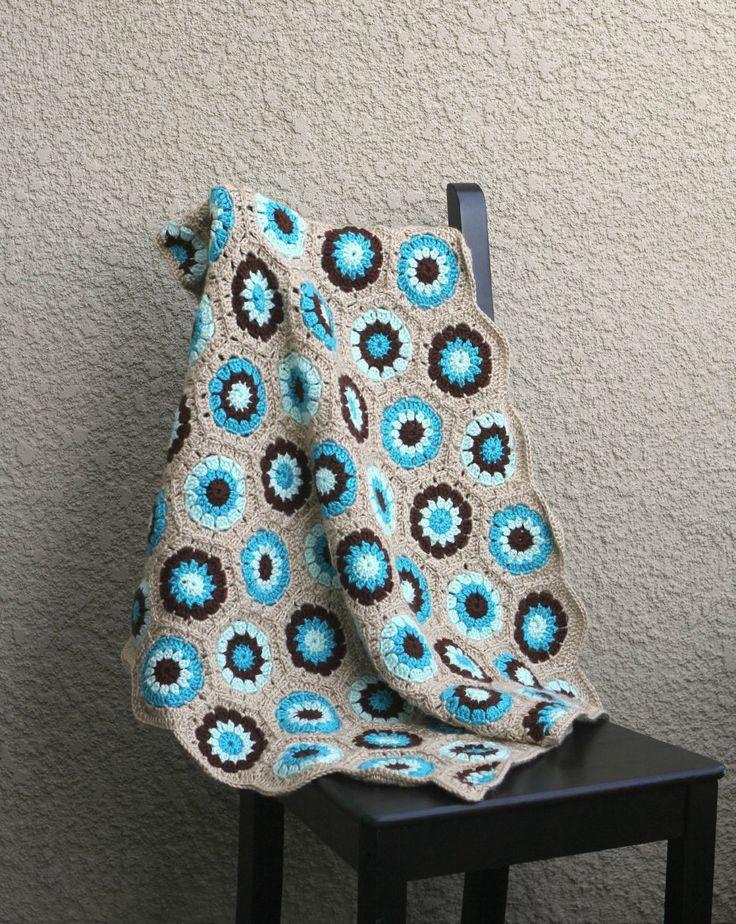 Crochet baby blanket colorful baby blanket blue brown beige newborn blanket baby shower gift