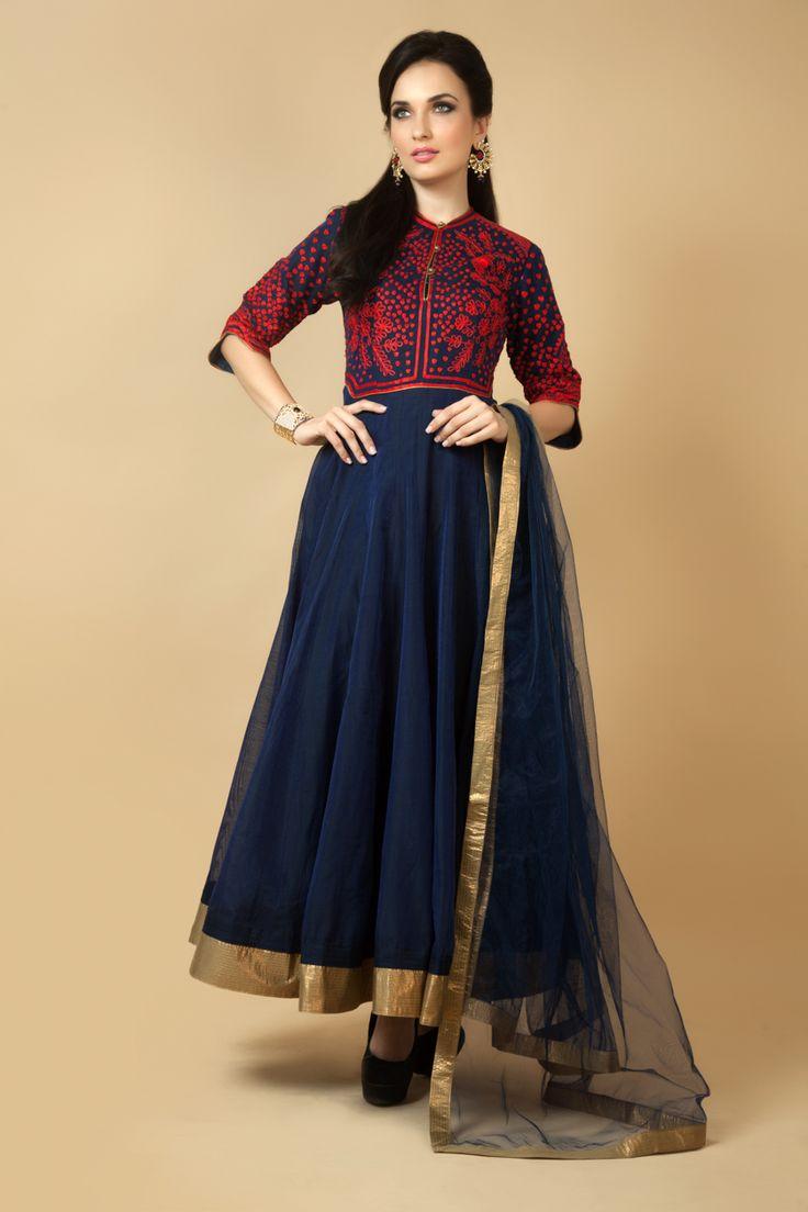 Chanderi cotton churidar kurta embellished with resham work. Item number W15-124