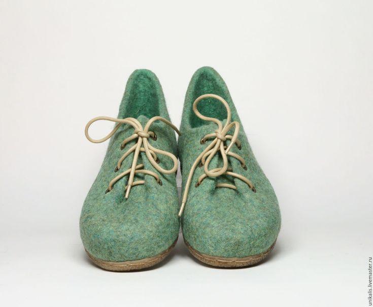 """Купить Валяные туфли """"Мохито"""" - мятный, мятные туфли, обувь ручной работы, обувь…"""