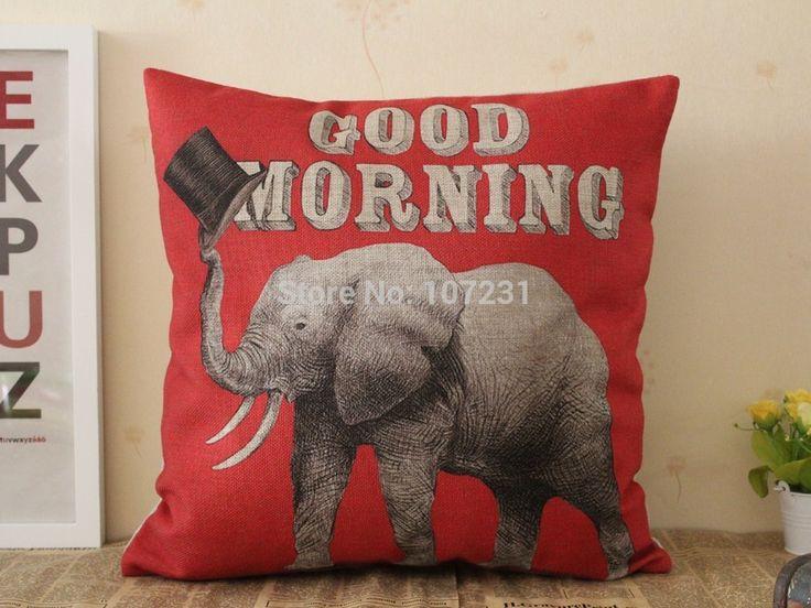 Винтаж белье чехлы бросьте декоративная наволочки 45 см * 45c доброе утро слон подушка чехол
