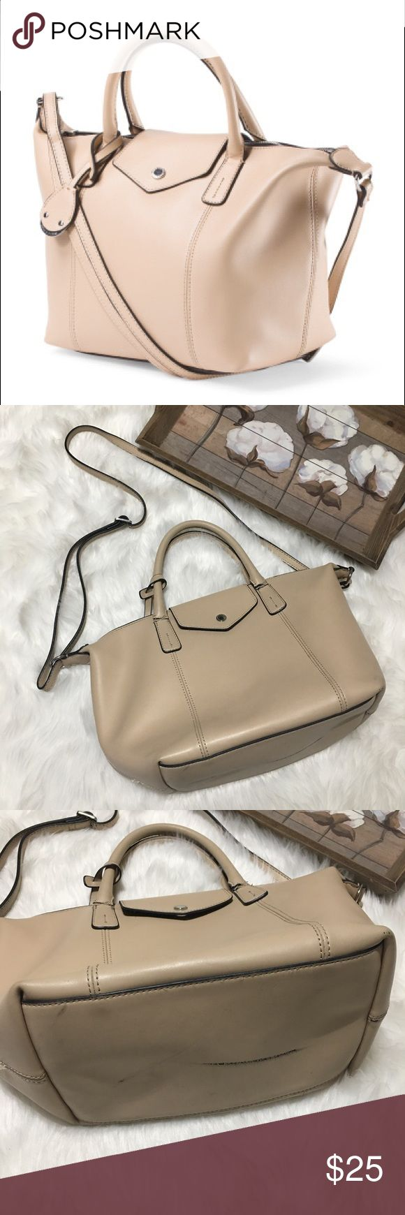 Emma & Sophia Leather Medium Tote Neutral Handbag Super chic an stylish Emma & Sophia leather Creme neutral purse bag. In used condition. Shows some signs of wear but still plenty of life left. Great for all occasions. Small compartments inside to store smaller items. The perfect medium Tote Handbag. Emma & Sophia Bags Shoulder Bags