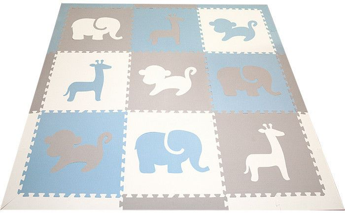 This beautiful designer SoftTiles Safari Animals is perfect for a little boy's nursery, playroom or kids room. The light blue, light gray, and white Safari Animals are decorative, but are light enough that they create a more subtle look to your room.  SoftTiles Safari Animals Kids Play Mat Sets with Borders Light Blue, Light Gray, White