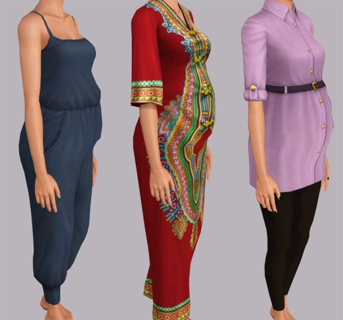 """plumbombshell: """"Maternity Enabled Store Items I had 0 maternity clothes for my sim so i added morphs to clothes i liked from the store. I removed all the speculars (i don't like shiny clothes) and i..."""