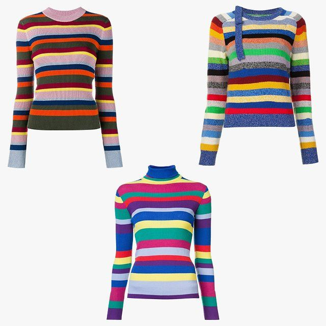 House of Holland striped knit sweater, $604, farfetch.com; Mira Mikati striped turtleneck sweater, $289, farfetch.com; Marc Jacobs striped sweater, $465, farfetch.com