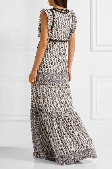 Tory Burch - Amita Appliquéd Printed Cotton Maxi Dress - Black
