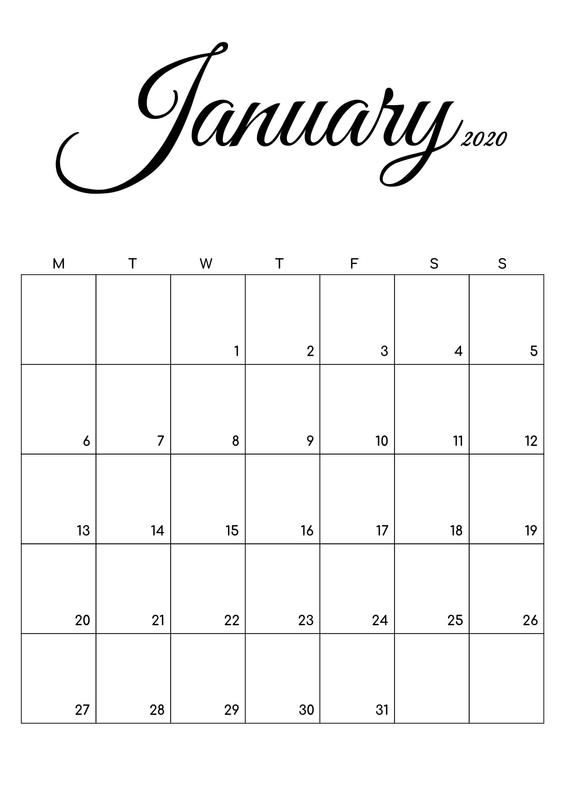 2020 Calendar Printable Dated Calendar Printable Planner Small
