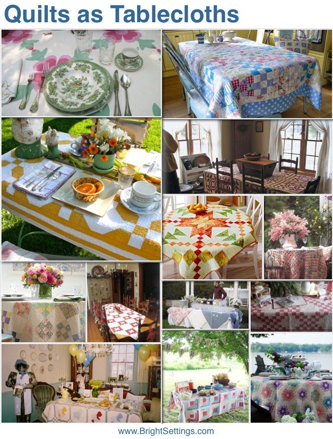 Quilts as tablecloths — a roundup of tables with quilt