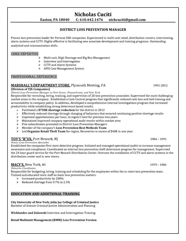 The 25+ best Examples of resume objectives ideas on Pinterest - loss prevention resume objective
