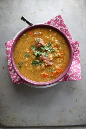 Red Lentil Soup with Ham by Heather Christo Cooks