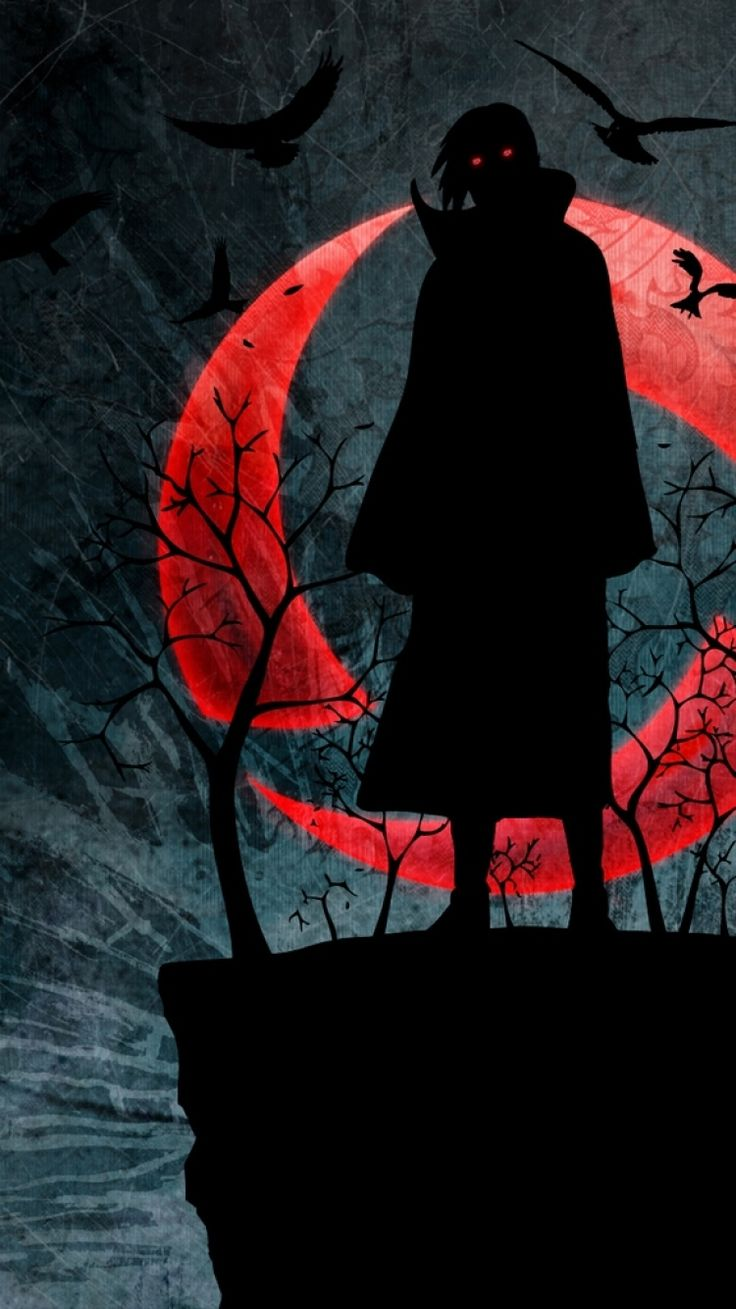 750x1334 Wallpaper naruto, uchiha itachi, sharingan, figure, night, red moon, birds
